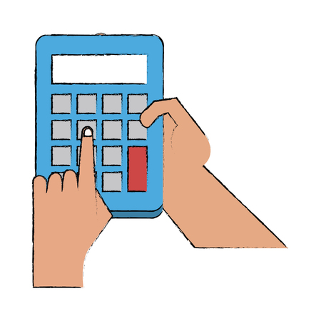 Hand with calculator icon vector illustration graphic design. Illustration