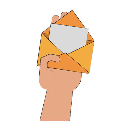 Hand with mail open icon vector illustration graphic design