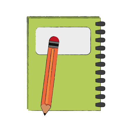 Notebook and pencil icon vector illustration graphic design Illustration
