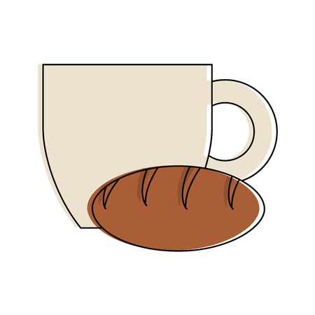 Coffee and bread icon vector illustration grahic design Illustration