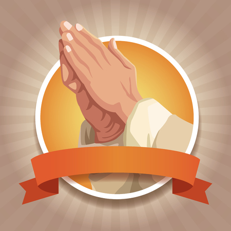 Christianity round icons with ribbon icon vector illustration graphic design