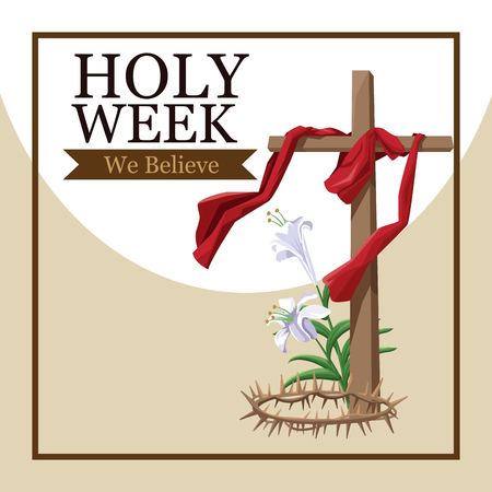 Holy week catholic tradition icon vector illustration graphic design