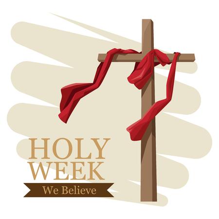 Progettazione grafica dell'illustrazione di vettore dell'icona di tradizione cattolica di settimana santa Archivio Fotografico - 94143093