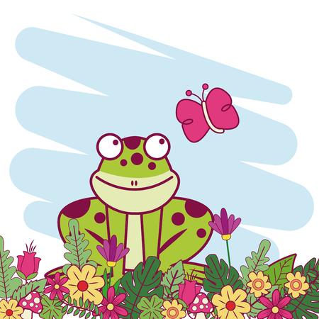 Animals on spring cartoon icon vector illustration graphic design Иллюстрация
