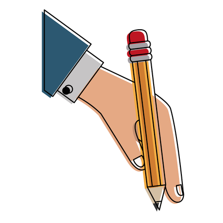 Hand with wooden pencil icon vector illustration graphic design Illustration