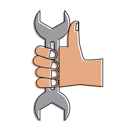 Hand with wrench icon vector illustration graphic design Illustration