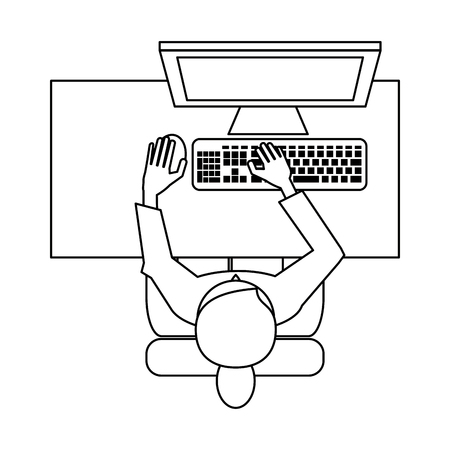 Woman on desk wit pc topview icon vector illustration graphic design