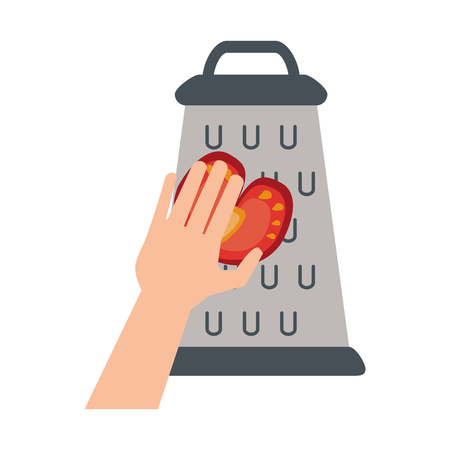 Hand on kitchen grater icon vector illustration graphic design