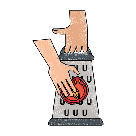 Hands on kitchen grater icon vector illustration graphic design