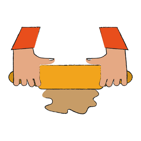 Hands with rolling pin icon vector illustration graphic design Illustration