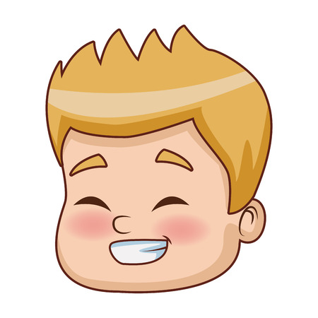 Cute boy face cartoon icon vector illustration graphic design Illustration