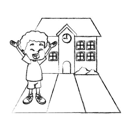 Little boy at school cartoon icon vector illustration graphic design