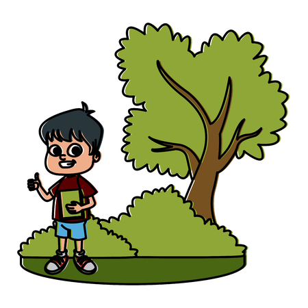 Little boy at park cartoon icon vector illustration graphic design Illustration