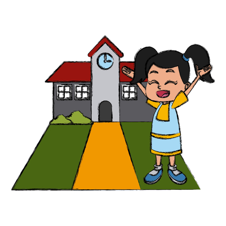 Little girl at school cartoon icon vector illustration graphic design