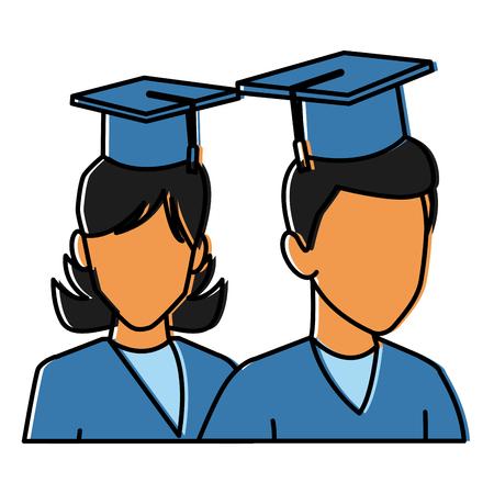 Students in graduation avatar icon vector illustration graphic design Illustration