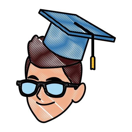Student man with graduation hat icon vector illustration graphic design.