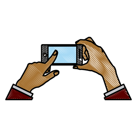 Hand touching smartphone icon vector illustration graphic design