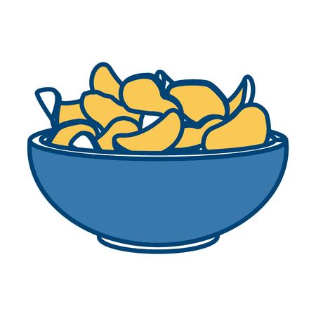 Potato chips on bowl icon vector illustration graphic design Illustration