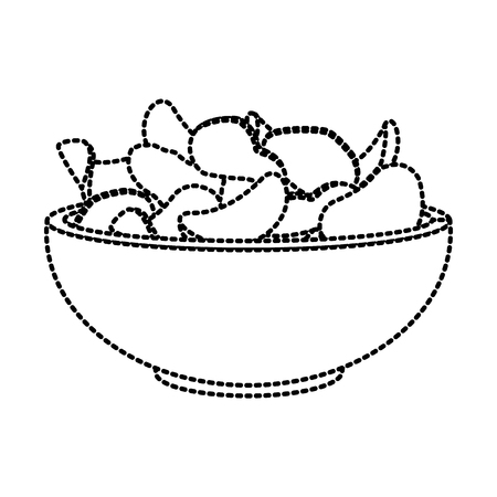 Potato chips on bowl icon vector illustration graphic design Çizim