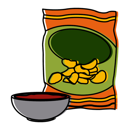 Chips bag with ketchup icon vector illustration graphic design