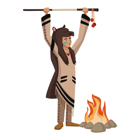 American indian with bear skin and bonfire icon vector illustration graphic design