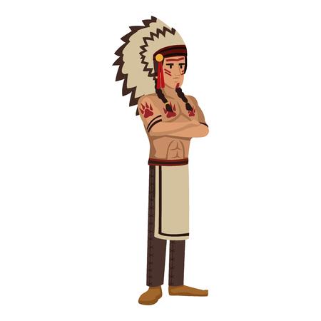 american indian dessin animé icône illustration vectorielle conception graphique