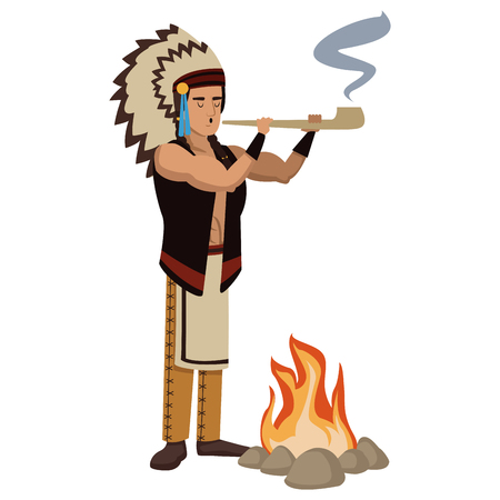 American indian smoking tobacco pipe icon vector illustration graphic design