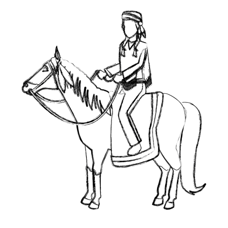 American indian on horse icon vector illustration graphic design