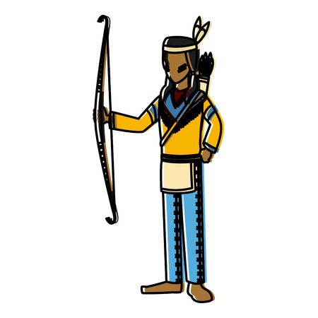 American indian with bow icon vector illustration graphic design