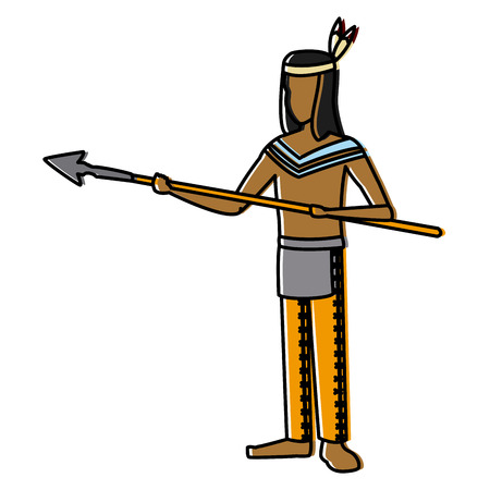 American indian with spear icon vector illustration graphic design Illustration