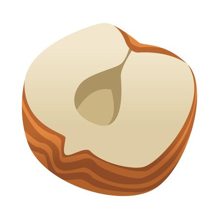 Nut open isolated icon vector illustration graphic design Illustration