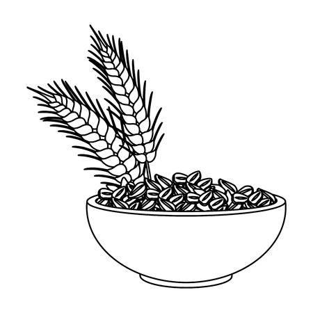 flocons d & # 39 ; avoine bol icône vecteur illustration graphisme