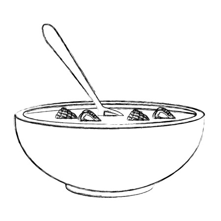 Cereal and milk bowl icon vector illustration graphic design Çizim