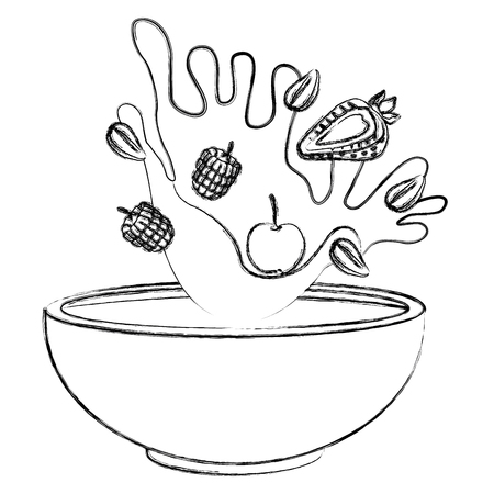Cereal and milk bowl icon vector illustration graphic design  イラスト・ベクター素材
