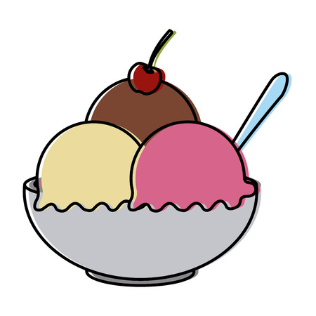 Ice cream bowl icon vector illustration graphic design