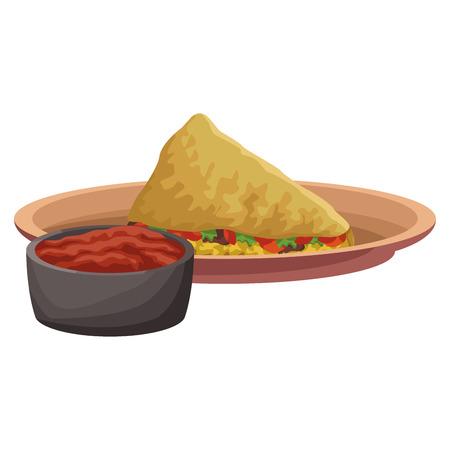 Progettazione grafica dell'illustrazione di vettore dell'icona messicana dell'alimento del taco Archivio Fotografico - 94465934