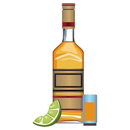 Tequila bottle and shot icon vector illustration graphic design