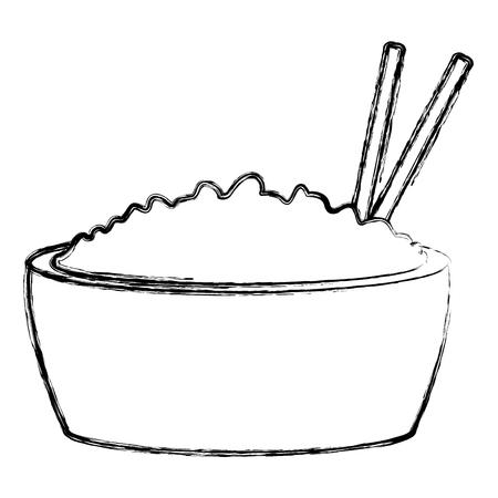 Rice bowl with chopstick icon vector illustration graphic design Illustration