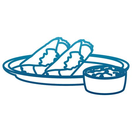 Mexican burritos with chili icon vector illustration graphic design. Illustration