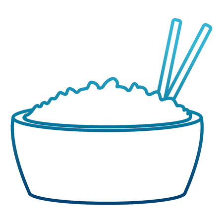 Rice bowl with chopstick icon vector illustration graphic design.