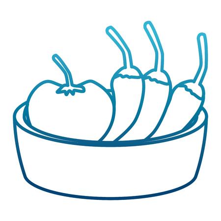 Chillis with tomato on bowl icon Vettoriali