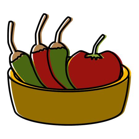 Chilli's with tomato on bowl icon vector illustration graphic design.