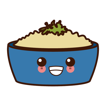 Rice bowl food cute cartoon vector illustration.