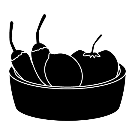 Chillis with tomato on bowl icon vector illustration graphic design