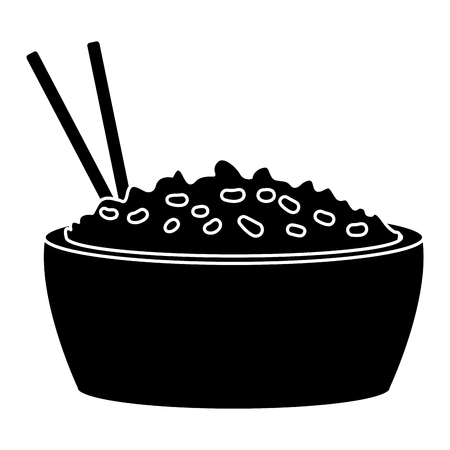 Rice bowl with chopstick icon vector illustration graphic design Illustration