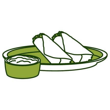 Mexican burritos with chilli icon vector illustration graphic design