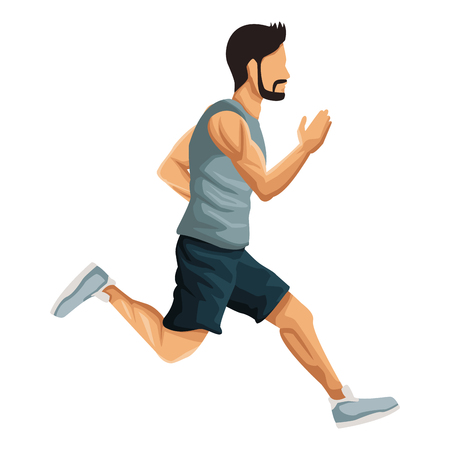 Fitness man running icon vector illustration graphic design