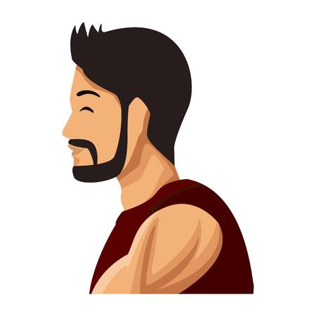 Progettazione grafica dell'illustrazione di vettore dell'icona di profilo dell'uomo di forma fisica Archivio Fotografico - 94401075