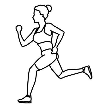Lopend het pictogram vectorillustratie grafisch ontwerp van de geschiktheidsvrouw