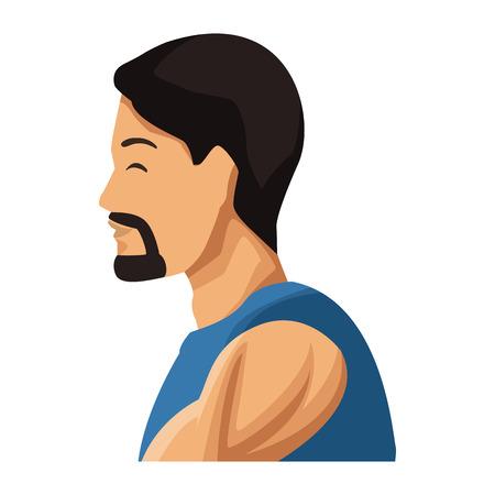Progettazione grafica dell'illustrazione di vettore dell'icona di profilo dell'uomo di forma fisica Archivio Fotografico - 94401722